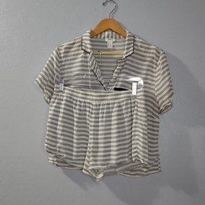 Forever 21 White Black Striped Pajama Set Shorts